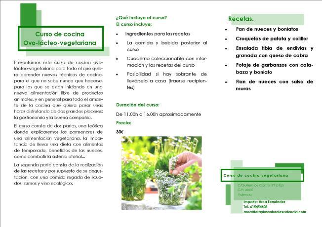 Mas vida natural centro de terapias alternativas naturales - Curso de cocina vegetariana ...